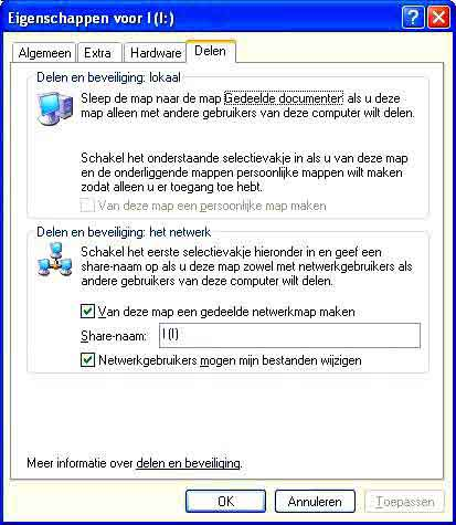 Eigenschappen voor I (I:) in Windows XP
