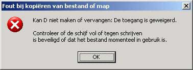 Fout bij kopieren in Windows XP