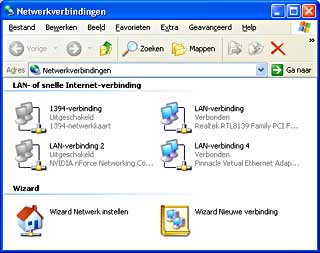 Netwerkverbindingen, Windows XP